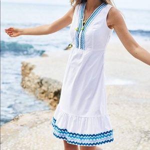 BODEN Easy Rickrack Dress White Blue {II52}